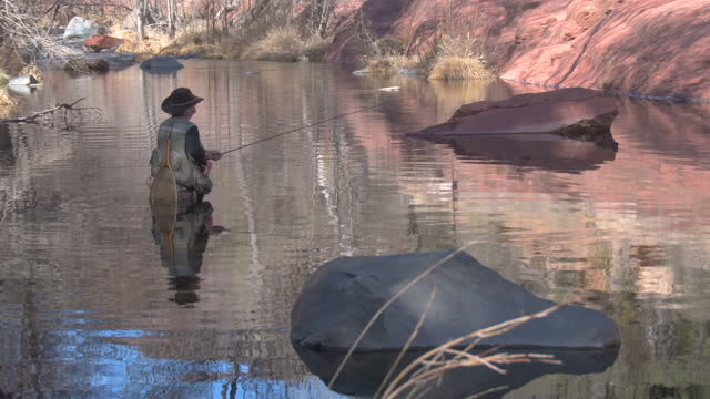 senior woman fly-fishing in oak creek, sedona, arizona - walking in water stock videos & royalty-free footage