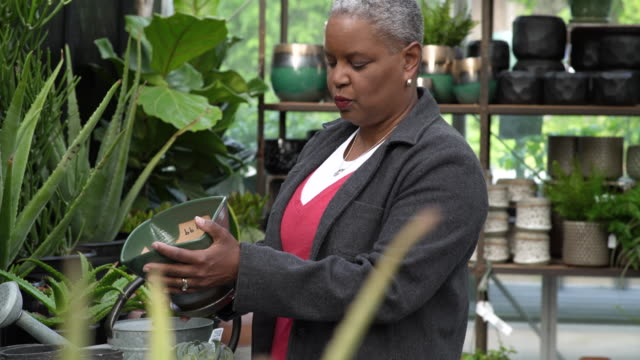 senior woman holding a pot in a greenhouse - whidbey island shop stock videos and b-roll footage