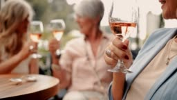 Senior woman holding glass of wine with friends in background