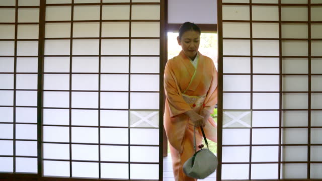 senior woman in a kimono opening a sliding door - kyoto temple stock videos and b-roll footage