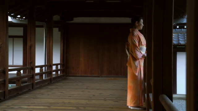 senior woman in a kimono stood looking into the distance - shrine stock videos and b-roll footage
