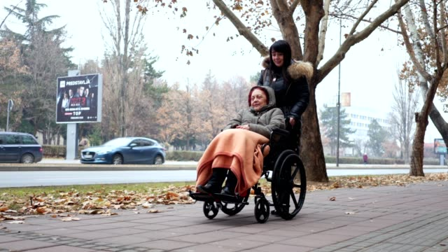 vídeos de stock e filmes b-roll de senior woman in a wheelchair and a social worker enjoying their time together - empurrar atividade física