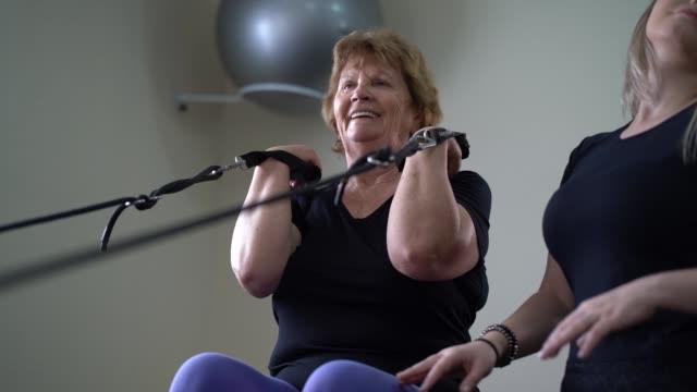 Senior woman in physical rehabilitation