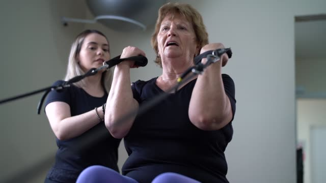 senior woman in physical rehabilitation - physiotherapy stock videos & royalty-free footage