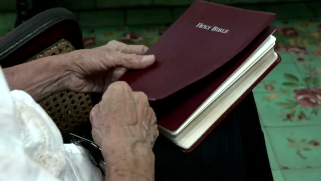 senior woman in reading the bible - bible stock videos & royalty-free footage