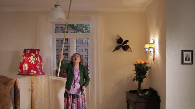 ms senior woman irritated and hitting the ceiling with broom  / berlin, germany - seniorinnen stock-videos und b-roll-filmmaterial