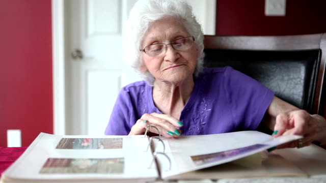 Senior Woman Looking At Photo Album
