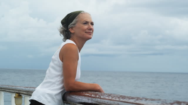 senior woman on a yacht