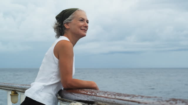 senior woman on a yacht