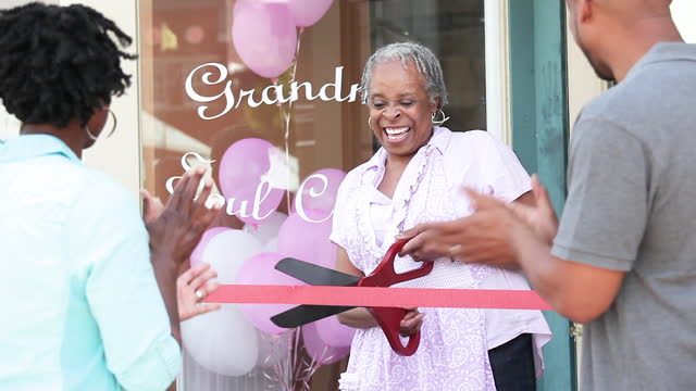 senior woman opening new business - opening ceremony stock videos & royalty-free footage