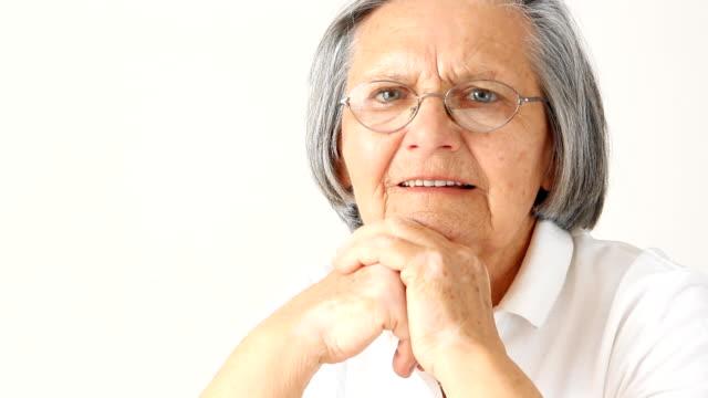senior woman portrait - grey hair stock videos and b-roll footage