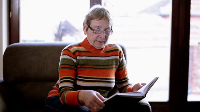 senior woman reading a book - armchair stock videos & royalty-free footage