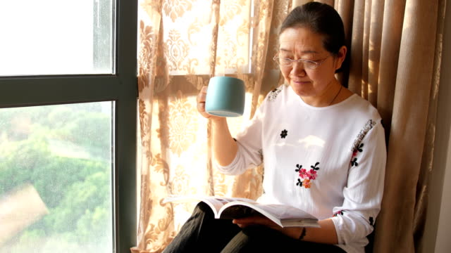 senior woman reading book and drinking coffee by window - chair stock videos & royalty-free footage
