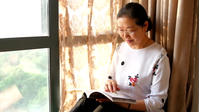 senior woman reading book by window - reading glasses stock videos & royalty-free footage