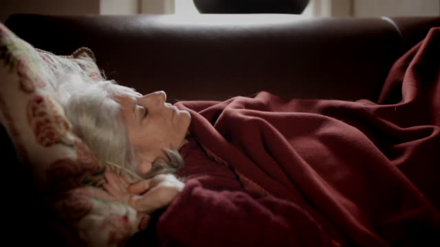 |MS Senior woman resting on couch / Kingston, New York, USA