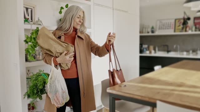 senior woman returning home with groceries - straight hair stock videos & royalty-free footage