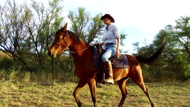 senior woman rides her horse - ranch stock videos & royalty-free footage