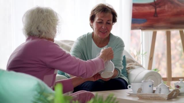 Senior woman serving tea to a friend