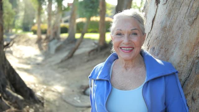 CU Senior Woman smiling, portrait / Los Angeles, California, USA