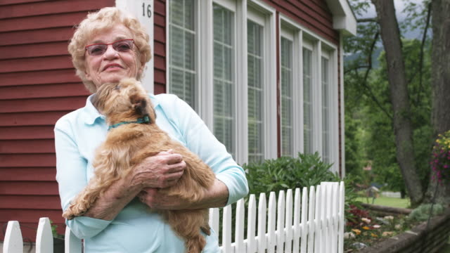 ms senior woman standing in front of house and holding dog, smiling / manchester, vermont, usa. - vermont stock videos & royalty-free footage