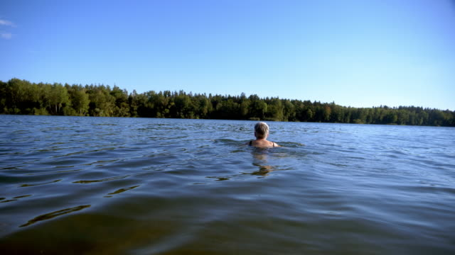 Senior Woman Swimming in Lake
