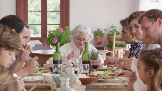 ältere frau im gespräch mit familie während dem mittagessen - großmutter stock-videos und b-roll-filmmaterial
