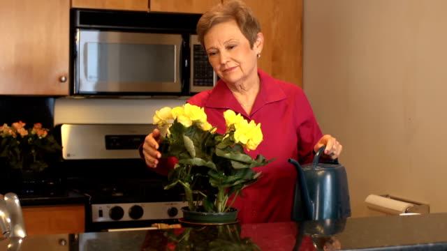 Senior vrouw wateren bloemen
