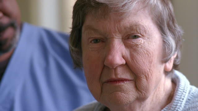 cu senior woman with gray hair smiling / washington state, usa - big hair stock videos & royalty-free footage