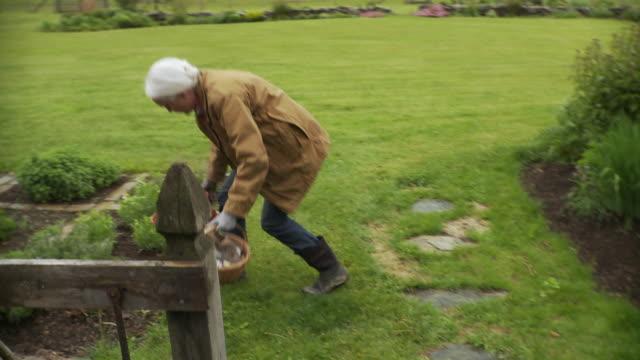 vidéos et rushes de ms pan senior woman working in garden and exits the gate / stowe, vermont, usa - gant de jardinage