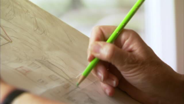 CU Senior woman's hand drawing, Waverly, Nova Scotia, Canada