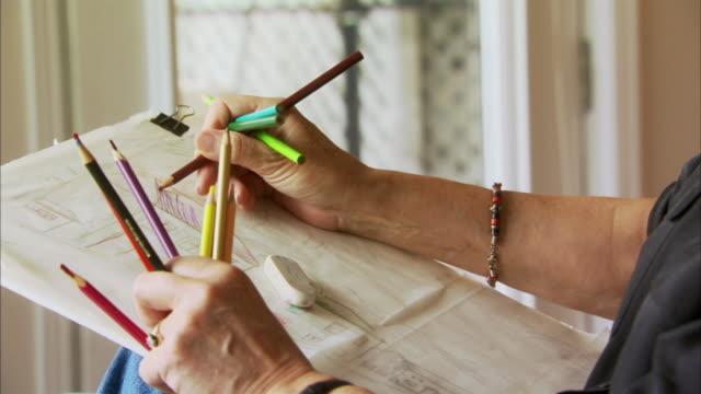 CU Senior woman's hands drawing, Waverly, Nova Scotia, Canada