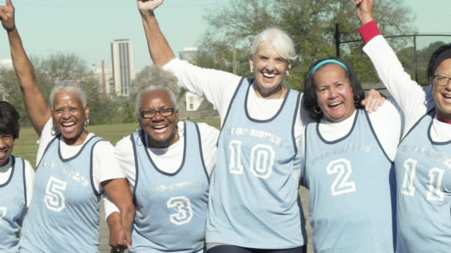 Senior women basketball team winning