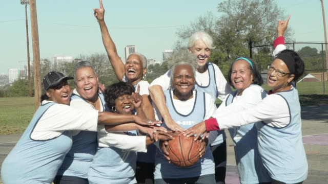 Senior women basketball team winning