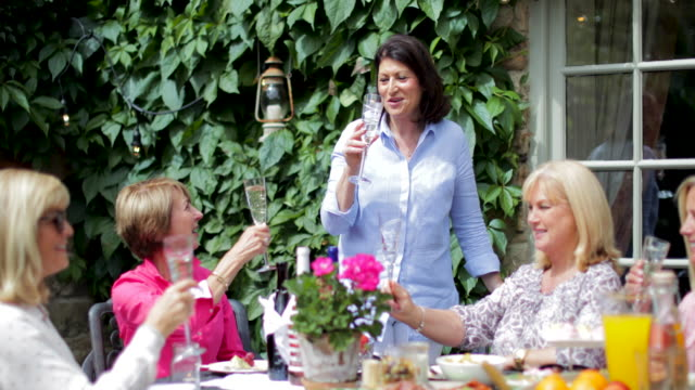 senior women celebrating together - lunch stock videos & royalty-free footage