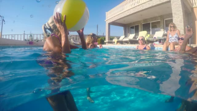 senior women in a pool - republic of cyprus stock videos and b-roll footage