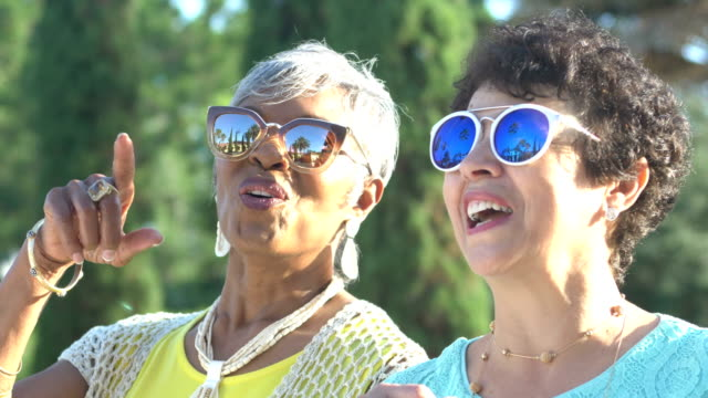 senior women in sunglasses, looking up and pointing - sunglasses stock videos & royalty-free footage