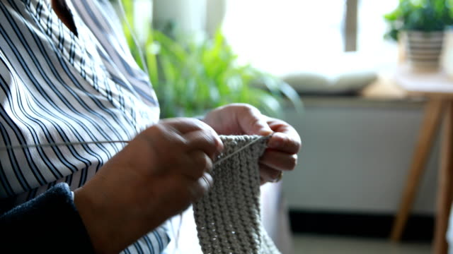 senior women knitting - knitting needle stock videos & royalty-free footage
