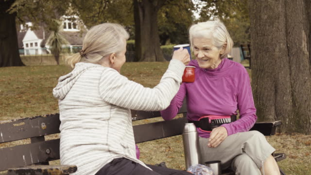 Senior women making a toast with their mugs sitting on parkbench.