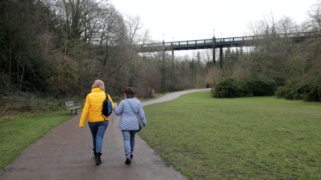 senior women on a walk - female friendship stock videos & royalty-free footage