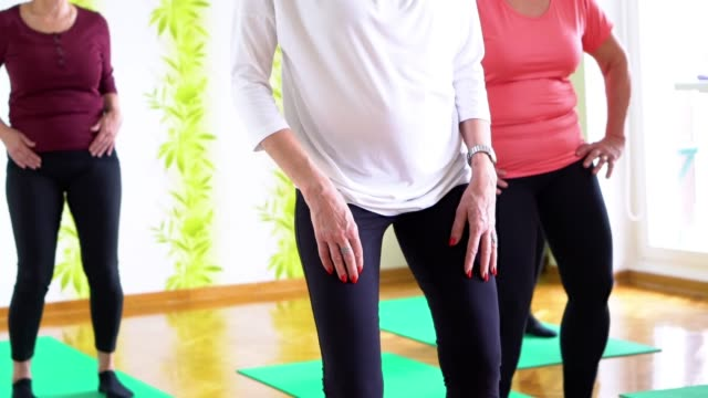 senior women practicing  yoga in yoga studio - obscured face stock videos & royalty-free footage