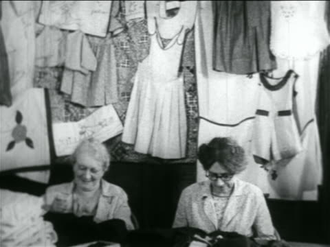 senior women sewing in wpa garment factory / documentary - 1934 stock videos & royalty-free footage