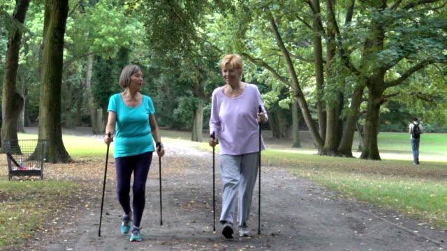公園を歩いて棒をハイキングと年配の女性 - パワーウォーキング点の映像素材/bロール