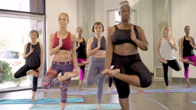 senior yoga class doing tree pose - overweight yoga stock videos & royalty-free footage