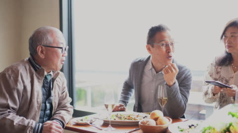 seniors enjoying eating out with friends - only japanese stock videos & royalty-free footage