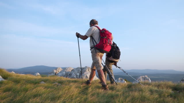 seniors hiking on a sunny day - active seniors stock videos & royalty-free footage