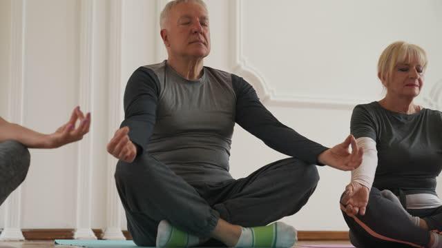 stockvideo's en b-roll-footage met het mediteren van oudsten - in kleermakerszit