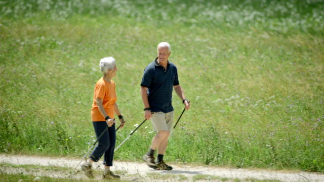 hd: seniors nordic walking in countryside - hiking pole stock videos & royalty-free footage