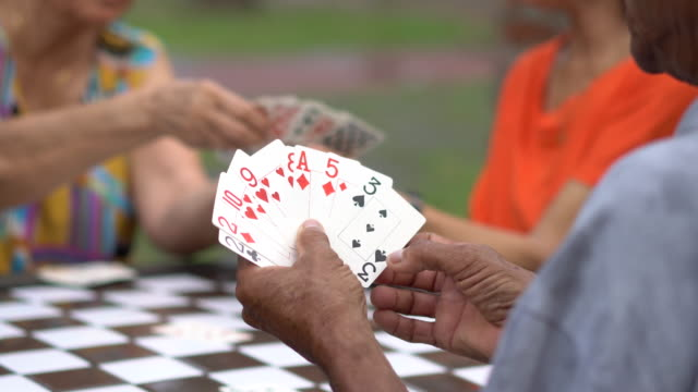 seniors playing card in the public park - 70 79 years stock videos & royalty-free footage
