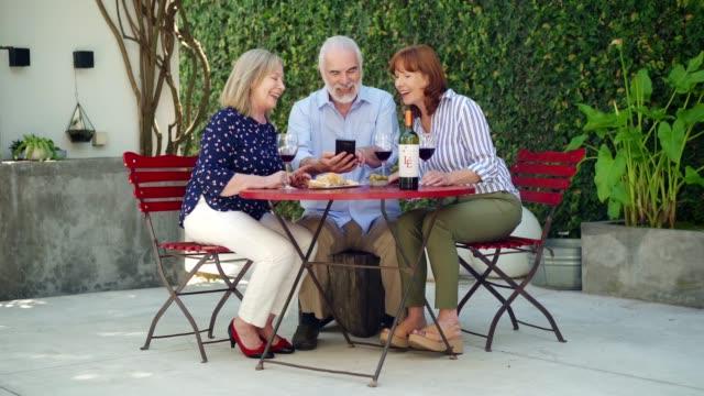 vídeos de stock, filmes e b-roll de idosos que passam a tarde de relaxamento em uma jarda - idoso na internet