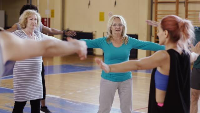 Seniors taking positions for exercising